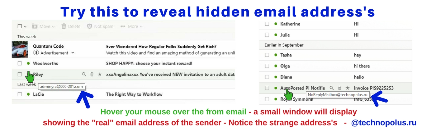 how to find hidden email addresses